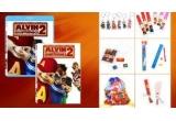 2 x rucsac, 1 sapca, 1 tricou, 1 set de colorat (creioane colorate, carioci, acuarele cu pensula), 4 x agatatoare de telefon, 6 x breloc cu personajele, 1 set magneti frigider, 1 set rigla + guma de sters + ascutitoare, 1 set format din cele 6 personaje din film (Elenor, Alvin, Britney, Simon, Stephanie, Theodor), un ceas