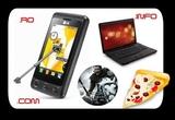 un laptop HP Compaq 610, un telefon LG KP500 Black, 1 domeniu .ro pe viata, 1 domeniu .com pe 1 an, un DVD cu filmul Robin Hood, un domeniu .info pe 2 ani, o pizza