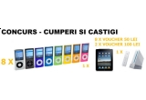 8 x iPod Nano 8GB + voucher de 50 lei, 1 x Nintendo Wii + voucher de 100 lei, 1 x Apple iPad + voucher de 100 lei