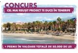 o excursie de 8 zile pentru 2 persoane in Tenerife, 2 x cec de cumparaturi in valoare de 8.000 lei, 2 x cec de cumparaturi in valoare de 10.000 lei, un cec de cumparaturi in valoare de 6.000 lei , un cec de cumparaturi in valoare de 4.000 lei, un cec de cumparaturi in valoare de 2.000 lei