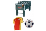 100 x tricou casual Ursus, 100 x minge de fotbal, 50 x tricou de antrenament al echipei nationale, 1 masa fussball – premiul cel mare