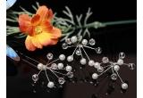 3 x set cercei de mireasa stil candelabru din cristale Swaroski, 1 x set 3 ace de par cu perle si cristale Swarovski
