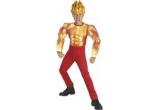 un costum de Super Erou (copil sau adult), un costum copil – Torchman din Fantastic 4, o masca ochi bandit + o esarfa neagra + bratari fosforescente
