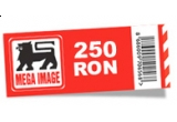 un cupon de cumparaturi in valoare de 250 de RON valabil in magazinele Mega Image / saptamana