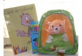 un ghiozdanel + caiet de colorat + creioane colorate, un ghiozdanel + mini creioane colorate
