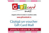 un voucher de 200 lei oferite de Giftcard Mall