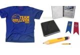 set obiecte promotionale (tricouri, agende, seturi creioane)