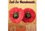 un pachet cu o cutie din lemn pictata manual + o pereche de cercei flori de mac (Zu&Za Handmade)