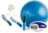 un set de fitness cu coarda digitala + pedometru + minge gonflabila pentru exercitii