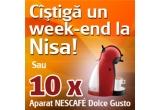 un aparat NESCAFE Dolce Gusto / saptamana, un week-end la Nisa, 2 x aparat NESCAFE Dolce Gusto