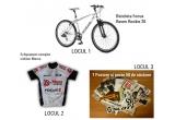 1 x bicicleta Focus Raven Rookie 26, 1 x echipament complet ciclism Maros, 3 x set de 7 postere + 50 de stickere cu diferite branduri