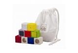 1 x Cuburi cu activitati - Plan Toys (Set de 9 cuburi din lemn de culori, sunete si texturi diferite)
