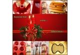 1 x forma de guguluf din silicon + 2 pachetele de fructe confiate, 1 x forma de cozonac din silicon + 2 pachetele de fructe confiate, 1 x suport pentru brad din lemn, 1 x forma pentru mini gugulufi din silicon + 2 pachetele fructe confiate, 1 x set format din spatula + pensula din silicon + fructe confiate, 1 x pres cu care sa intampinati colindatorii