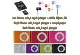 1 x mp3 player + 2 Gb micro sd, 1 x mp3 player + carphones, 1 x mp3 player