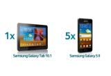 1 x tableta Samsung Galaxy Tab, 5 x smartphone Samsung Galaxy S2
