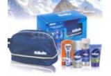 1 x  Set 4 produse Gilette + geanta cosmetice, 1 x Set gel de dus + deodorant + husa costum Breeze, 1 x Set 3 produse cosmetice Vidal + geanta cosmetice