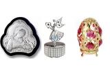 1 x caseta din coaja de ou, 1 x icoana argintata medie, 1 x icoana argintata mare, 1 x iconita argintata, 1 x  ingeras muzical, 1 x ou de Paste