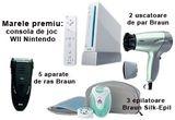 5 x aparat de ras - Braun, 2 x uscator de par Braun, 3 x epilator Braun Silk-Epil, o consola de joc Wii Nintendo<br /> <br />
