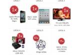 1 x iPhone 4S, 1 x iPad 2, 1 x LCD Philips 81cm, 3 x aparat foto digital Nikon Coolpix L25, 10 x mingie Adidas, 15 x set format din sapca + tricou + cana termos + breloc