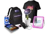 1 x tricou cu LED, 2 x ceas digital, 1 x panou cu LED, 1 x geanta confectionata din materiale reciclabile, 1 x rucsac solar, 1 x incarcator floarea-soarelui proiectat cu celule solare, 1 x tableta Samsung Galaxy Tab 7.0