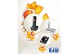 1 x telefon fix Teleton, 1 x router wireless Gigaset, 1 x telefon DECT Panasonic