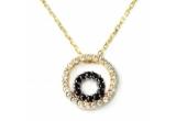 1 x Un pandantiv tare dragut din aur galben de 14 k cu zirconiu alb si zirconiu negru