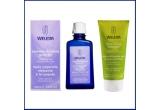 1 x un pachet de produse organice - ulei relaxant de masaj cu lavanda & lotiune de dus cu citrice Weleda