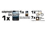"1 x iPad mini 16GB, Wi-Fi, Negru + 50 puncte, 1 x Telefon mobil Samsung I9070 Galaxy S Advance, Black + 30 de puncte, 1 x o bicicleta + 20 de puncte, 7 x lampa ambientala ""Bec"""