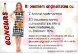 1 x tinuta la alegere (cu fusta/pantalon), 1 x rochie la alegere, 5 x bluza la alegere, 10 x voucher pentru cumparaturi pe site-ul madame.ro cu discount 10%