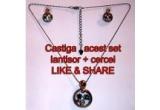 1 x set de bijuterii compus din cercei si lantisor cu medalion