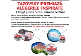 1000 x set 2 pahare Tazovsky, 200 x umbrela de plaja Tazovsky, 12 x voucher servicii turistice de 2000 ron