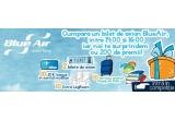 1 x 2 bilete de avion dus-intors catre orice destinatie operata de Blue Air, 10 x extra-serviciu 1 bagaj de cala dus-intors, 10 x acces la Business Lounge in Aeroportul Henri Coanda (Otopeni), 10 x serviciu Extra LegRoom, 30 x CD muzica, 90 x carte, 10 x 10 euro bonus in contul myBlue, 38 x pachet produse promotionale Blue Air