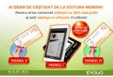 1 x eReader Evobook, 1 x voucher de cumparaturi in valoare de 50 ron, 1 x voucher de cumparaturi in valoare de 100 ron