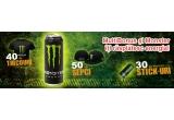 30 x memory stick Monster, 40 x tricou Monster, 50 x sapca Monster
