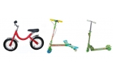1 x Bicicleta metal fara pedale, 1 x Trotineta 3 roti tip Power Wing, 1 x Trotineta 510 metal 3 roti verde