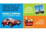 461 x voucher de cumparaturi in valoare de 100 de lei, 1 x masina BMW X1 18d xDrive, 1 x voucher de 4000 euro pentru o vacanta intr-o capitala europeana, 1 x voucher de 5000 euro pentru mobilier de bucatarie de la Mobexpert