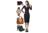 5 x o tinuta alcatuita din rochie (trench) + geanta (umbrela) + ceas dama + ghete (botine/pantofi/cizme) + parfum