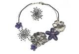 1 x set de bijuterii Tria Alfa format din colier + inel din sticla de Murano si cu elemente Swarovski