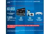 20 x televizor LED 3D Samsung, 50 x camera foto smart Samsung Galaxy, 100 x sistem de andocare dual Samsung, 1000 x voucher eMAG/credit prepay de 100 ron, 61613 x pachet participant la promotie