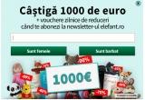 1 x 1000 euro, zilnic:vouchere Elefant de reducere