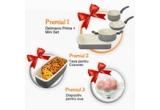 1 x Delimano Ceramica Prima+ Mini Set, 3 x Tava Cozonac Delimano Ceramica, 3 x Delimano Utile Egg Master