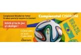 1 x mingea oficiala a Campionatului Mondial de Fotbal + jambiere fotbal Ciserom + sosete fotbal Ciserom, 15 x premiu constand in șosete Ciserom cu echipele participante din colecția Ciserom Sport 2014