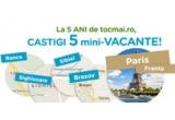 1 x vacanta la Paris, 4 x vacanta in Romania, 25 x 20 de euro credit in contul tocmai.ro