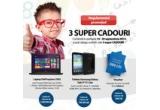 1 x laptop Dell Inspiron 3542, 1 x tableta Samsung Galaxy Tab 3 Lite, 1 x voucher Libris de 300 de lei