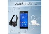1 x smartphone Sony Xperia Z3, 1 x casti Sony DR-BTN200 wireless headphone, 1 x Sony SBH20 stereo headset