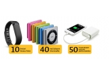 10 x bratara Fitbit, 40 x iPod Shuffle, 50 x acumulator extern pentru telefon