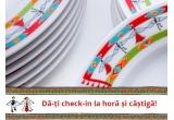 3 x premiu pentru masa de sarbatoare (500 de EURO + set de 19 farfurii decorate cu brau de sarbatoare special creat de un designer roman + cos cu produse Delikat)