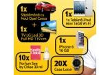 1 x iPhone 6, 1 x Saptamana cu Noul Opel Corsa si plinul facut + TV LG Led Full HD 119 cm, 1 x Tableta iPad Mini 16GB Wi-Fi, 10 x Parfum See by Chloe 30 ml, 20 x Ceas Loisir