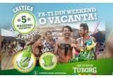 5 x weekend-vacanta pentru tine si 3 prieteni la Sibiu/ Vama Veche/ Mamaia/ Delta Dunarii/ Brasov, 150 x baterie portabila Tuborg pentru telefon, 350 x tricou Tuborg