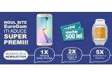 1 x smartphone Samsun Galaxy S6 Edge, 2 x voucher EuroGsm de 500 ron, 4 x ceas bluetooth Mykronoz Zeclock Smartwatch